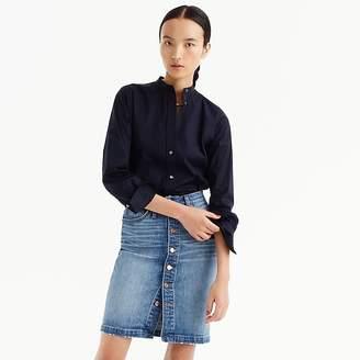 J.Crew Button-front denim mini skirt