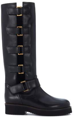L'Autre Chose York Black Leather Biker Boots With Side Buckles.