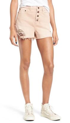Sun & Shadow Destroyed High Rise Denim Shorts $49 thestylecure.com