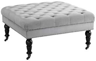 Linon Home Décor Products Isabelle Gray Velvet Square Tufted Ottoman