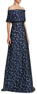 Lela Rose Off-The-Shoulder Floral Gown