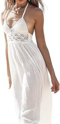 Come On Comeon Women's Beach Crochet Backless Bohemian Halter White Summer Maxi Long Beach Dress