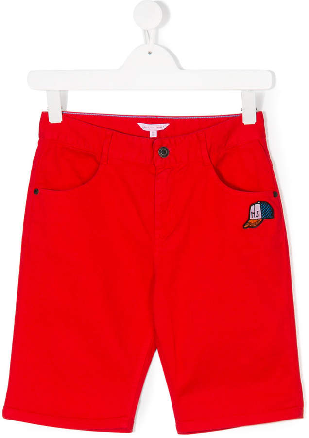 patched denim shorts