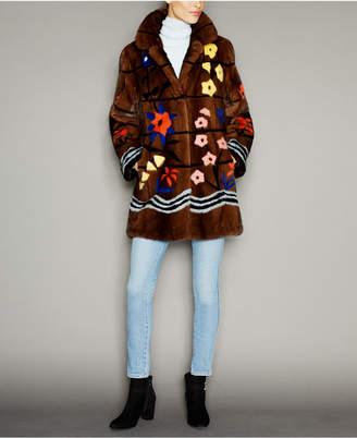 The Fur Vault Floral-Print Mink Fur Coat