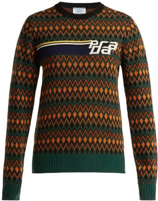 Prada Logo-intarsia wool and cashmere-blend sweater