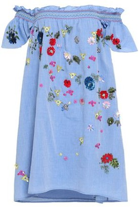 d890bf639 Joie Clarimonde Off-the-shoulder Embellished Cotton-chambray Mini Dress
