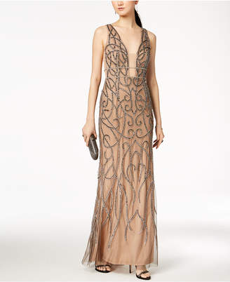Adrianna Papell Beaded Chainmail Plunge Gown