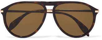 Alexander McQueen Aviator-style Tortoiseshell Acetate Sunglasses - Brown