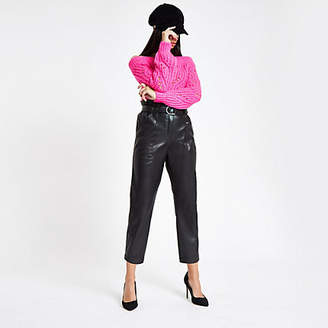 River Island Black faux leather paper bag waist pants