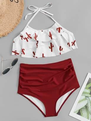 8d77c30720 Shein Random Cactus Print Ruffle Halter Top With High Waist Bikini