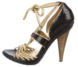 Just Cavalli Leather Peep-Toe Sandals