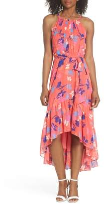 Vince Camuto Floral High/Low Chiffon Halter Dress