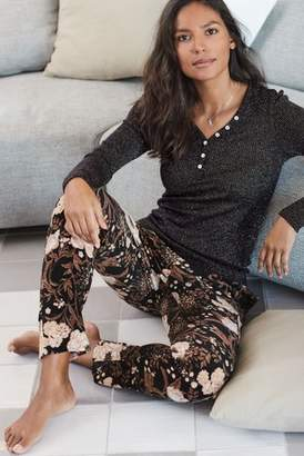 Next Womens Black Floral Pyjama Pants