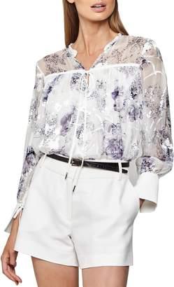 Reiss Anneka Floral Burnout Silk Blend Blouse