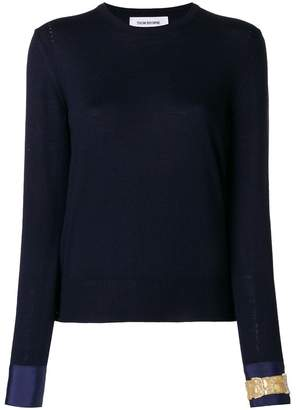 Thom Browne Crewneck Pull Over In Fine Merino Wool With Trompe L'oeil Jewelry Applique