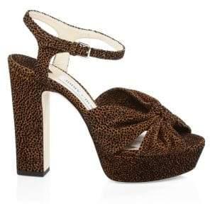 Jimmy Choo Heloise Leopard Print Platform Sandals