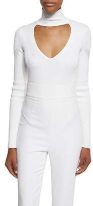Cushnie et Ochs Long-Sleeve Mock-Neck Bodysuit, White