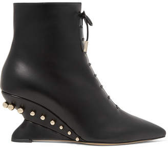 Salvatore Ferragamo Blevio Studded Leather Wedge Ankle Boots - Black