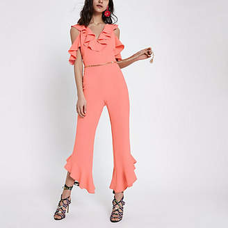 River Island Womens Pink frill front cold shoulder jumpsuit