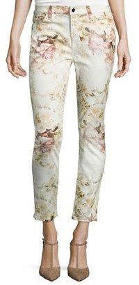JEN7 Vintage Garden Floral-Print Skinny Ankle Jeans, Multi $169 thestylecure.com