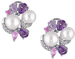 QVC Sterling Multi-Gemstone & Cultured Pearl Cluste