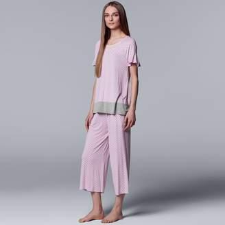Vera Wang Women's Simply Vera Tee & Culottes Pajama Set