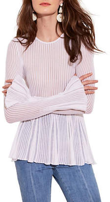 Autumn Cashmere Pleated Shadow Bell-Sleeve Top