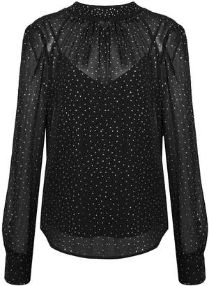 Veronica Beard polka dot sheer blouse