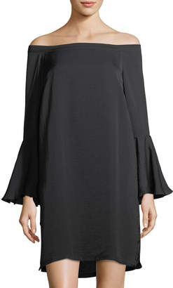 philosophy Off-The-Shoulder Bell-Sleeve Dress, Black