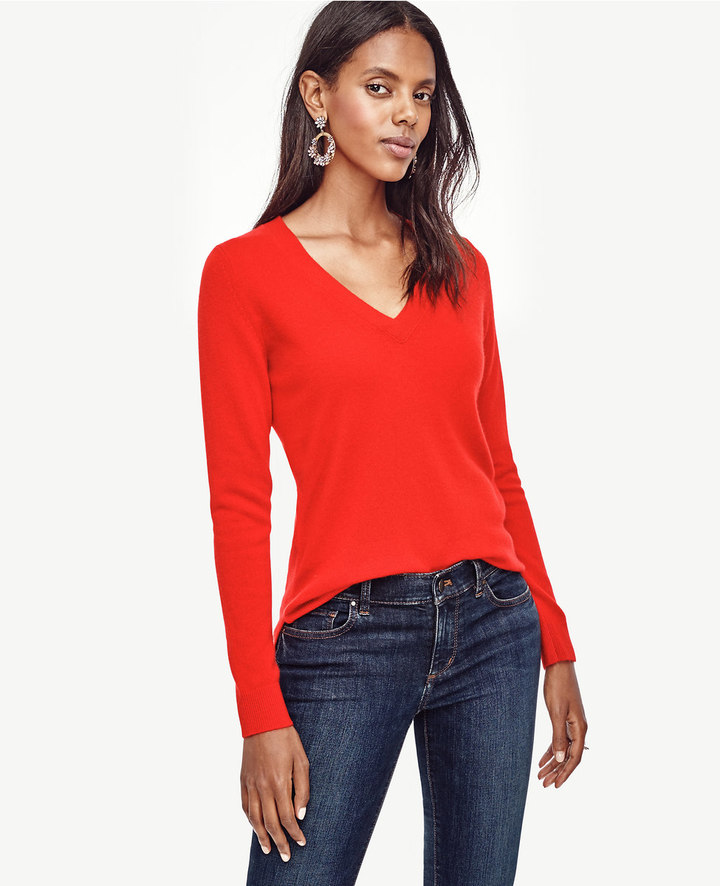 Ann Taylor Petite Cashmere V-Neck Sweater