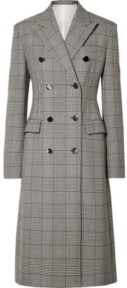 Calvin Klein Prince Of Wales Checked Wool And Silk-blend Coat - Gray