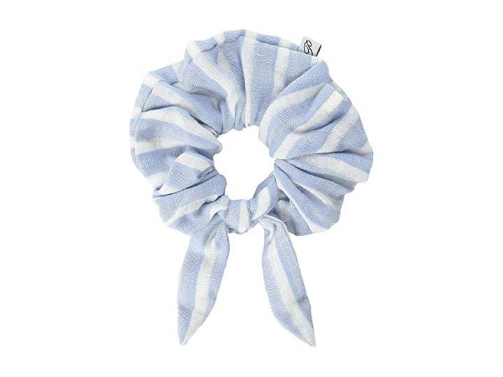 Plush Striped Linen Elastic Hair Scrunchie with Bow Knot