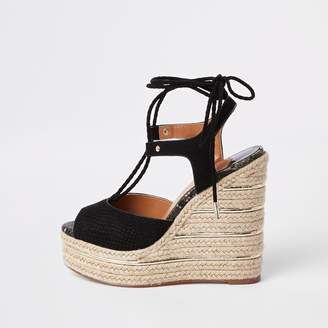 73e233f3a River Island Womens Black tie-up espadrille wedges