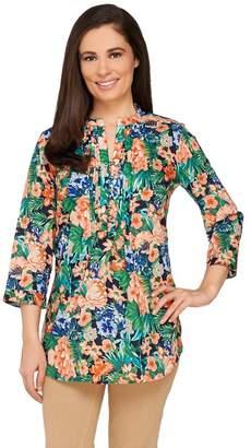 Liz Claiborne New York Floral Print Button Front Tunic