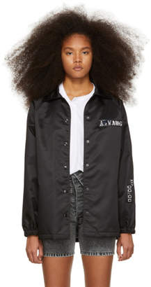 Alexander Wang Black Chrome Decal Coaches Jacket