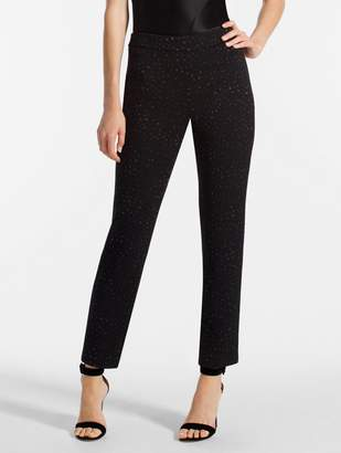St. John Blister Knit Metallic Jacquard Cropped Length Pant