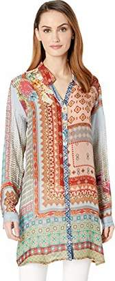 Johnny Was Women's Button Down Tunic with Tab Sleeves