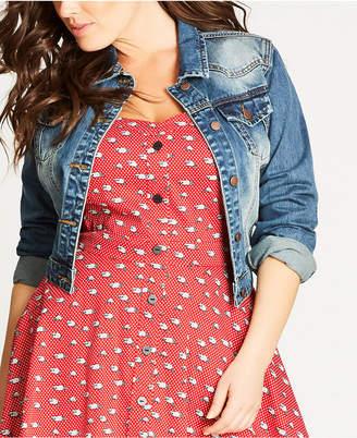 City Chic Trendy Plus Size Cropped Denim Jacket