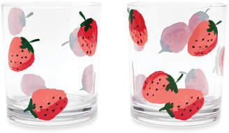 Kate Spade strawberries drinking glasses, set of 2