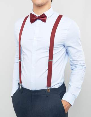 Asos WEDDING Bow Tie And Suspenders Gift Set In Burgundy