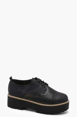 boohoo Chunky Platform Lace Up Brogues