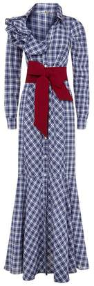 Johanna Ortiz Plaid Button Front Maxi Dress