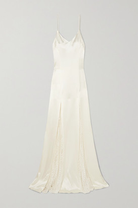 Galvan Windmill Lace-paneled Crepe Gown - White