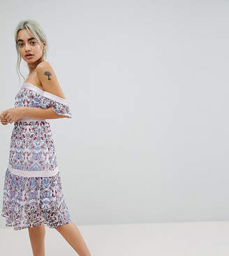 Vero Moda Petite Paisley Print Cold Shoulder Dress