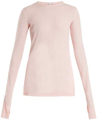 Helmut Lang Round-neck ribbed-knit cotton top