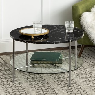 Mid-Century MODERN Manor Park 32 Round Coffee Table - Black Marble Top, Glass Shelf, Chrome Legs