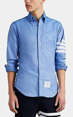 Thom Browne Men's Block-Striped Cotton Oxford Cloth Shirt - Blue