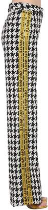 Off-White Off White Wool Blend Houndstooth Wide Leg Pants
