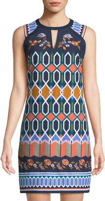 Laundry by Shelli Segal Geometric-Canvas High-Neck Mini Dress