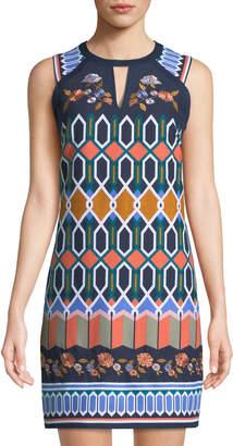 Laundry by Shelli Segal Geometric-Canvas High-Neck Mini Dress